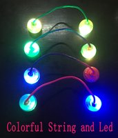 Wholesale Cheap Led Toys - 2017 newst Colorful Hand finger spinner thumb chucks light up cheap EDC Hand Fidget Yoyo led finger balls Skill toy Take the box