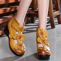 Wholesale Black Wedge Flower - Yellow Red Black Round Toe Slope Heels Wedges Shoes For Women Flowers Decoration 2017 New Fashion National Style Ladies Footwear