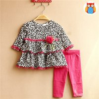 Wholesale Leopard Outfits For Babies - New Fashion Baby Girls Outfits Sets Leopard Lace Flower Long Sleeve Tops Layer Shirts + Pants Tights 2piece Set Suits For Girl A7125
