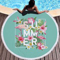 Wholesale Beach Batch - Factory price large round beach towels flamingo batch pool towel, microfiber circle tapestry picnic mat yoga mat 9 styles in stock