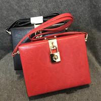 Wholesale Vintage Snakeskin Handbags - Wholesale-Vintage fashion mini snakeskin pattern pu leather handbag shoulder bag ladies mini box lock buckle messenger bag black & red