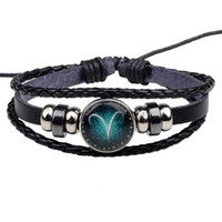 Wholesale Toggle For Glasses - Glass Cabochon 12 Zodiac Bracelets Aries Taurus Gemini Cancer  Virgo Scorpio Pisces Leather Bracelets For Men Women