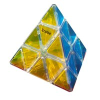 Wholesale Pyramid Stickers - New Arrival Transparent Pyramid Magic Cube Professional PVC Sticker Puzzle Cube Speed Magico cubo Educational Toys 10CM -45