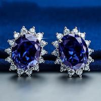 Wholesale Blue Silver Gemstone Earrings - Princess Diana wedding earrings Jewelry Really solid 925 Sterling silver Oval Blue Sapphire Gemstone earrings Gift for Women Girlfriend