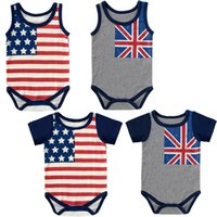 Wholesale Sweater Jumpsuits - Baby Rompers American Flag Summer Cotton Baby Jumpsuits One-piece Garment Stars Stripes Short Sleeve Sleeveless Sweater 0-2T
