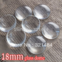 Wholesale 18mm Round Flatback Glass - bulk 500piece lot 18mm flatback round clear glass cabochon tray pendant cover glass dome tile seals