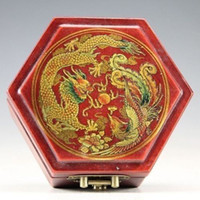Wholesale vintage leather jewelry boxes for sale - Group buy cheap Collectable Oriental Vintage Handwork Wood Leather Dragon Phoenix jewelry Box