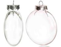 plastik diy ornamente großhandel-Promotion - DIY überstreichbar / Bruchsicher Klar Weihnachtsdekoration, 80mm Nahtlose Silber Kappe Kunststoff Ball Disc Ornament, 10 / Pack