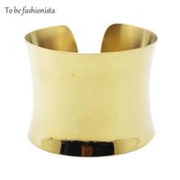 pulseiras de bracelete simples venda por atacado-Atacado- Novo design de moda em aço banhado a ouro exagerada Chunky chapeamento de ouro cor Mulheres Wide Plain Cuff Bangles Bracelet
