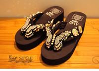 Wholesale T Strap Bohemian Sandals - Bohemian princess crystal slippers rhinestone beaded platform wedges slippers bow flip flops sandals