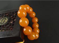 pulseira de cera de abelha venda por atacado-Natural Genuine BALTIC ÂMBARAS pulseiras boutique orange persimmon red beeswax Pulseira oferta especial