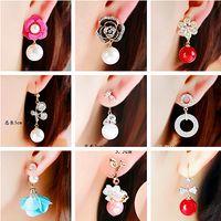 Wholesale bohemian korea jewelry resale online - girl jewelry South Korea sweet temperament pearl flower earrings earrings in short all match simple fashion bride red ear jewelry