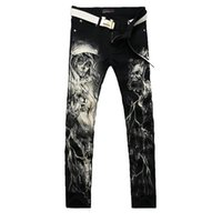 Wholesale Men Jeans Paints - New 2017 Men`s Printed Jeans Punk Style Gothic Painted Cotton Straight Leg Cool Jeans for Young Men