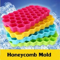 Wholesale ice maker box - Multi-Style Silicone Ice Cube Tray Freeze Mould Ice Cube Tray 37 Cavity Ice-making Box Honeycomb Mold For Bar Party Tools CCA6454 50pcs