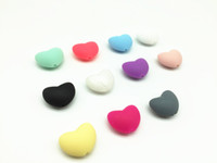 Wholesale Elements 11 - 50 pcs lot 11 color silicone bead wholesale Hot Heart Shape Loose Silicone Beads For Teething Necklace Silicone Loose Beads