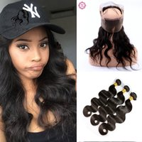 Wholesale Brazilian Bands - Slove 360 Lace Frontal with Bundle with Baby Hair Peruvian Virgin Hair Body Wave 360 Closure and Bundles Pre Plucked 360 Frontal Band