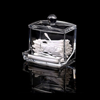 Atacado- Clear ABS Makeup Swabs de algodão Holder Bin Storage Container Organizer Box