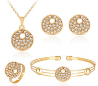 Wholesale Fancy Necklace Sets - Lady Women Fancy Choker Ear Studs Ring Wristband 4 Pieces a set Crystals Round Pendant Necklace Earrings Bracelet Jewelry Gift