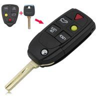 Wholesale Volvo Key Shell - car 5 Buttons Remote Flip Folding Key Shell Case Fob Keyless For Volvo XC70 XC90 V50 V70 S60 C30 Free Shipping