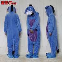 Wholesale Donkey Kigurumi - Unisex Adult Pajamas Kigurumi Cosplay Costume Sleepwear Flannel Animal Onesie blue donkey S M L XL