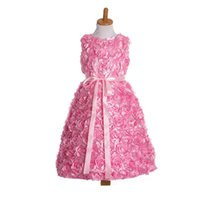Wholesale Rosette Bow Flower Dress - 6 Colors Baby Girl 3D Rosette Flower Dress 2017 Kids Girls Sleeveless Dresses Princess Tulle Dress For Party Children Clothing Retail S330