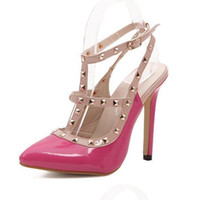 Hot Women Pumps Sapatos de senhora Sexy Pointed Toe High Heels Fashion Buckle Studded Stiletto High Heel Sandals Shoes. GGX-013