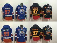 Wholesale Cheap Hoodie Free Shipping - Cheap Hockey Hoodie Edmonton Oilers #97 Connor McDavid #99 Wayne Gretzky Hoodie High Quality Stiched Sweater Jersey Free Shipping