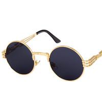 Wholesale Wholesale Steampunk Glasses - UV400 Round Metal Sunglasses Steampunk Men Women Fashion Glasses Brand Designer Retro Vintage Sunglasses 10 Colors