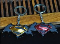 Wholesale Key Chain Order - High quality New men's series of Batman War Superman pendant car male key chain KR059 Keychains mix order 20 pieces a lot