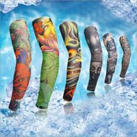 Wholesale Elastic Types - Fashion Nylon Unisex Elastic Temporary Fake Tattoo Sleeves Stretch Outdoor Sports Protection Sunscreen Arm Stockings Mix Types