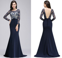 Wholesale Evening Silk Top - Dark Navy Mermaid Mother of The Bride Dresses Long Sleeves Lace Top Mother Dresses Sexy Backless Cheap Formal Evening Gowns For Mother 2017