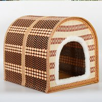 Wholesale Dog Kennel Wood - Pets Articles Summer Bamboo Weaving Pets Nest n Bamboo Weaving Kennel The Cat Cage Villa Free Shipping