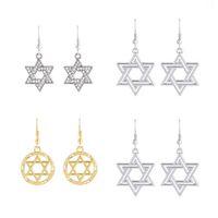 Wholesale Hanging Gold Star - Wholesale Dawapara Irish Knot David of Star Design Zinc Alloy Rhinestone Pendant Long Hang Earrings for Women