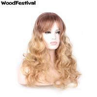 Wholesale Curly Synthetic Hair Wigs - WoodFestival gold ombre wig long curly wigs for women synthetic hair wigs with bangs rose network fiber hair