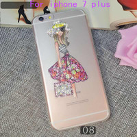 Wholesale Iphone Case Pretty Pink - For Samsung galaxy J2 prime grand prime on5 G550 For iphone 7 plus ultrathin clear Bling rhinestone diamond color painting TPU pretty girl