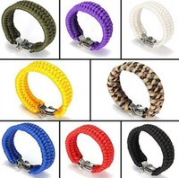 Wholesale Copper Enamelling Supplies - Outdoor safety supplies hand survival camping emergency umbrella bracelet shackle bracelet FB003 mix order 20 pieces a lot Beaded, Strands