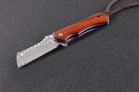 los mejores cuchillos plegables de damasco al por mayor-Oferta especial Damascus Flipper Knife EDC Cuchillos plegables de bolsillo con bolsa de nylon y caja de venta al por menor El mejor regalo para niños EDC Tools 2 Style