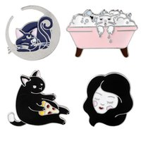 Wholesale Middle East Beauty - Cute Cats Brooch Pin Clothing Accessories Enameled Tiny Cute Metallic Bathing Cat Beauty Collar Pins Cartoon Badge