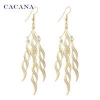 Wholesale Women S Earrings Gold Plated - CACANA Gold Plated Dangle Long Earrings For Women S Type Spiral Bijouterie Hot Sale No.A417 A418