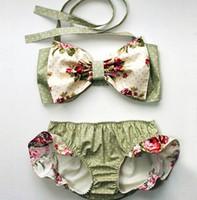 Wholesale Girls Childrens Swimwear - 2017 Girls Childrens Swimwear Clothing Sets Swimwear Bikinis BowTops Striped Shorts Swimsuit Beach Bathing Suit Bikini Swim Boutique Clothes