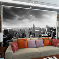 Wholesale Black White Modern Wallpaper - Black & White 3d Wall Mural Night Scenery New York City Custom 3D Photo Mural for Background living room Architectural Removable