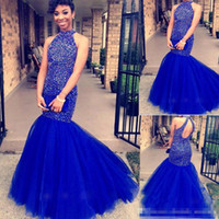 Wholesale Holes Rectangle - 2017 Free Shipping High Neck Mermaid Beading Crystal Long Back Hole Gorgeous Floor Length Tulle Formal Party Gown Evening Prom Dress