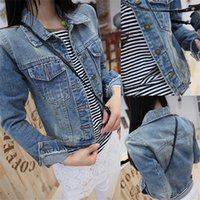 Wholesale Hooded Denim Coat - Wholesale- New 2016 Ladies Denim Jackets Outerwear Jeans Coat Classical Jackets Women Fashion Jeans Coats Rivets Female Jackets