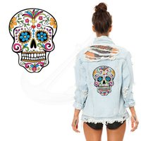Wholesale skull shirt dress - New Flower skull thermal transfer Printed 26*19CM A-level Washable Sticker T-shirt Dresses Sweater iron on patches