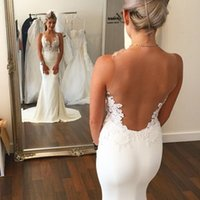 Wholesale Sexy Lace Tank - Mermaid prom Dresses With Lace Appliques Jewel Neck Tank Sleeveless Sheers On Back See Through Dresses Bridal Gown 2017 prom dress