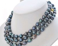 Middle Eastern black pearls rice - gt gt gt gt mm peacock black rice freshwater cultured pearl necklace quot