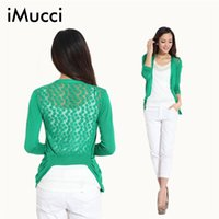 Wholesale Sweet Cardigan Coat Women - Wholesale-Hot!High Quality Fashion Women Cardigan Lace Sweet Candy Pure Color Sexy Lady Slim Crochet Knit Blouse Sweater Cardigan Coat