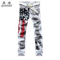 Wholesale Size 48 White Jeans Men - Wholesale-Big size 28-48 Brand Men's pants 2016 New White Printed Fashion Men Jeans Slim Stretch Printing American Flag Jeans Hombre