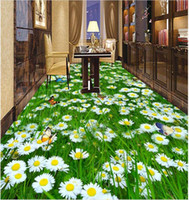 PVC paint adhesion - Custom any size Fresh grass flowers and D floor decoration painting waterproof self adhesion home decoration