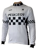Wholesale Exercise Bicycles - 2017 Autumn men Peugeot white bicycle exercise cycling clothing thin wicking cycling jersey long sleeve 2XS-6XL